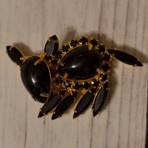 vintage black juliana rhinestone armadillo brooch